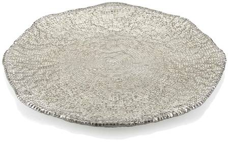 Diamante Platter 37cm Beige/Chrome