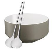 Salad Bowl with Servers Moto Grey